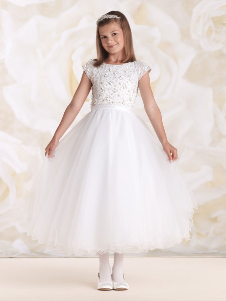First Communion Dress With Floral Motif Bodice