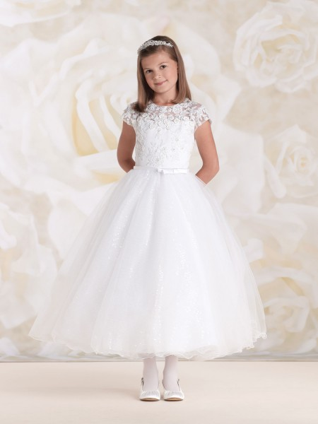 First Communion Dress with Lace and Sequins - White