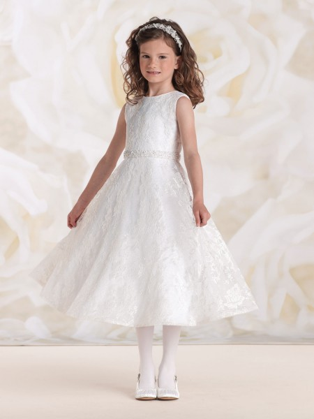 First Communion Dress with Lace Overlay - White