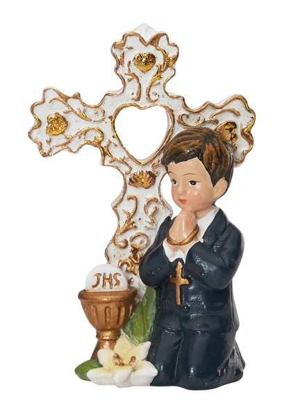 First Communion Figurine with Boy 3 Inches - Cream