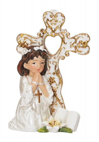 First Communion Figurine with Girl 3 Inches - Cream