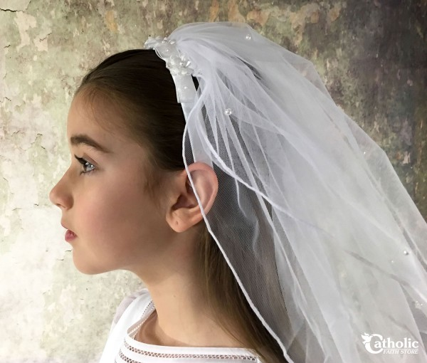 First Communion Headband Veil With Flowers and Pearls - White