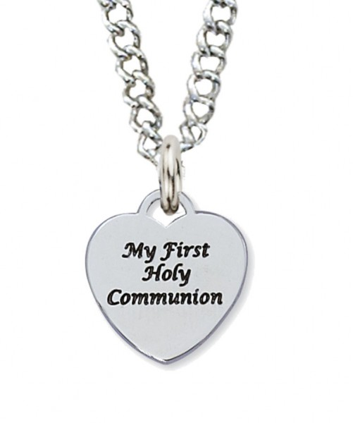 First Communion Necklace with Sterling Silver Heart Pendant - Silver