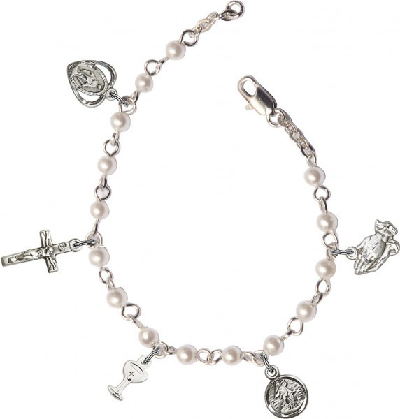 Girls First Communion Pearl Charm Bracelet - Pearl White