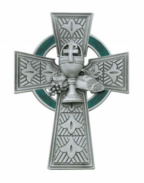 "First Communion Pewter Celtic Cross - 4 3/4"" H - Pewter"