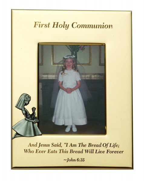 First Communion Photo Frame - Girl - Gold Tone