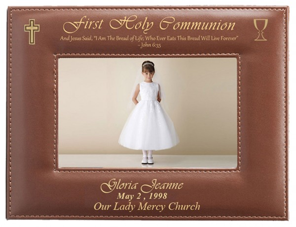 First Communion Photo Frame Personalized Horizontal - Brown