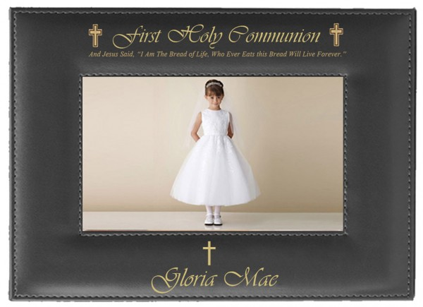 First Communion Photo Frame Personalized Horizontal - Black