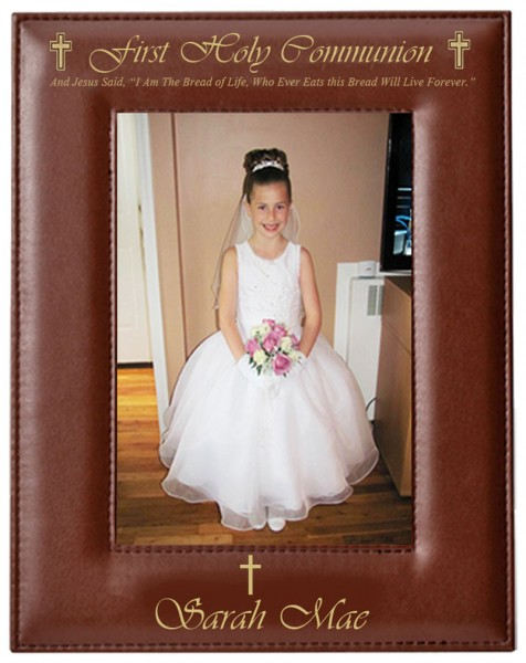 First Communion Photo Frame Personalized Vertical - Brown