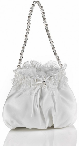 First Communion Purse, Satin with Chantilly Lace Trim - White