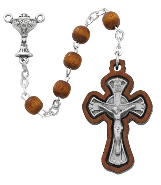 First Communion Rosary Brown Wood 6mm - Brown | Silver