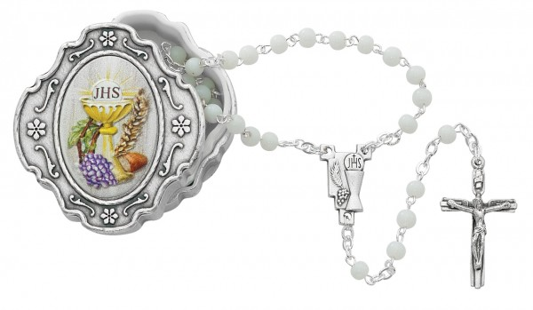 First Communion Rosary with Keepsake Box - White | Silver