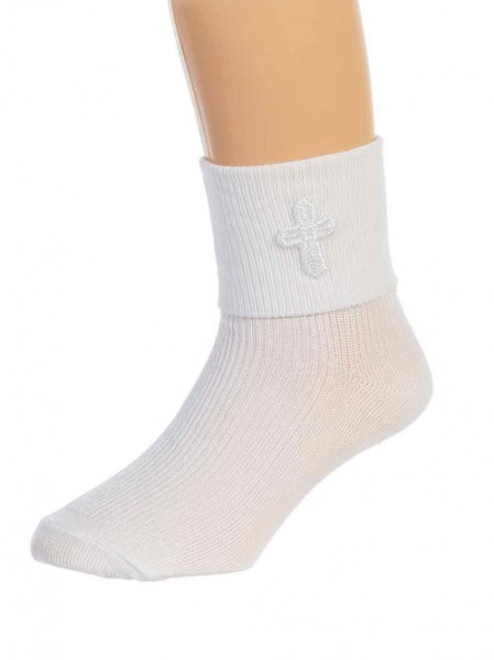 First Communion Sock with Embroidered Cross - White