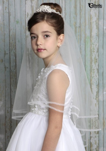 First Communion Tiara with Pearl Clusters and Veil - White