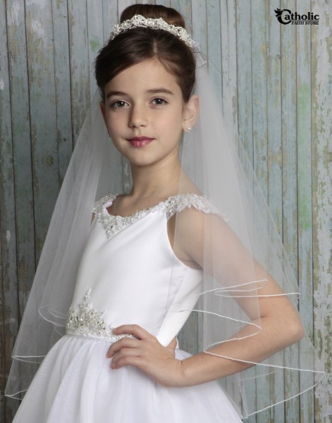 First Communion Veil with Floral Pearl Cluster Band - White