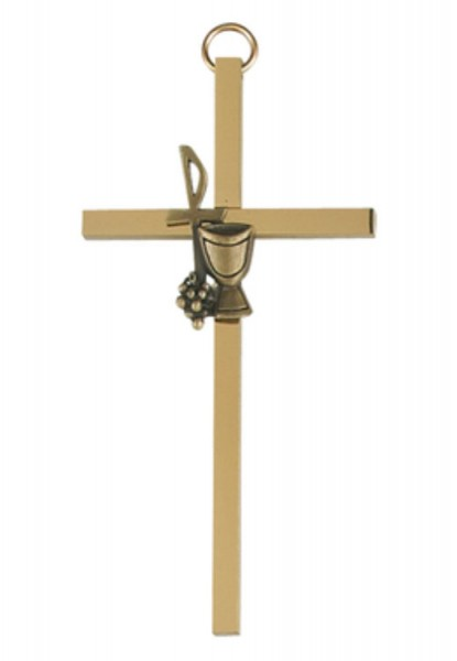 First Communion Wall Cross Gold Plate 4 Inches - Gold Tone