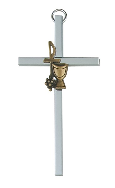 First Communion Wall Cross Silver Tone with Chalice 4 Inches - Silver tone
