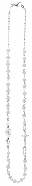 First Communion White Rosary Necklace 16 inch - White | Silver