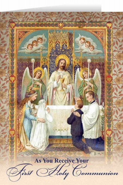 First Communion at the Altar Greeting Card - Multi-Color
