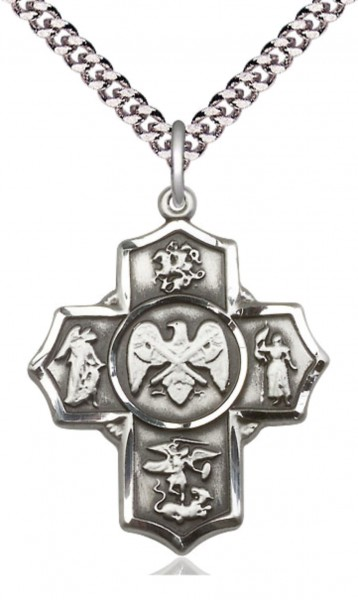 Five Way Cross US National Guard Necklace - Sterling Silver