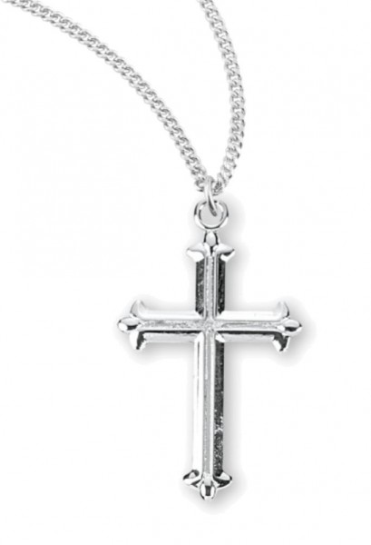 Fleur De Lis Tipped Sterling Silver Cross Necklace - Sterling Silver