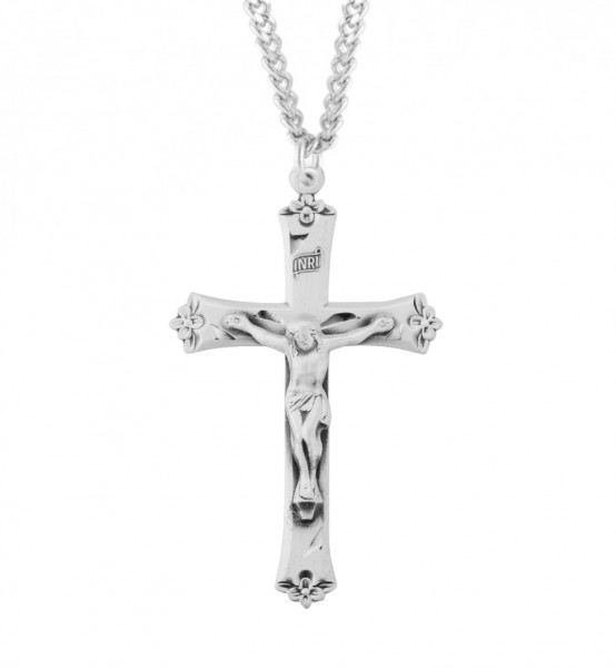 Flower Tip Men's Crucifix Necklace - Sterling Silver
