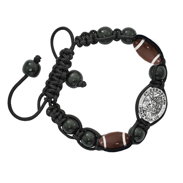 Football Bracelet with Saint Sebastian Medal - Black