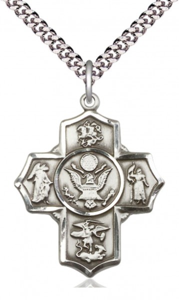 Five Way Cross Army Necklace - Sterling Silver