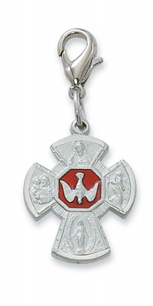 Four-Way Cross Medal Clip On - Red