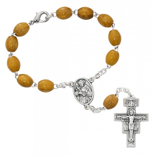 Franciscan Olive Wood Auto Rosary - Brown
