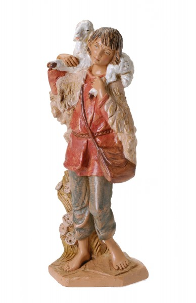 "Gabriel with Lamb Nativity Statue - 12"" scale - Multi-Color"