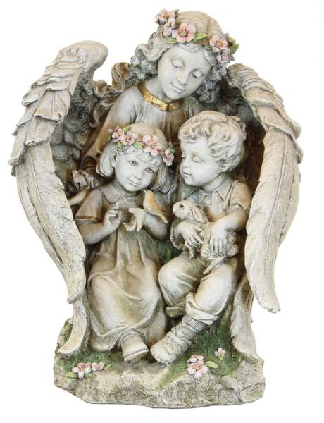 "Garden Angel with Children Statue - 15.75"" - Multi-Color"