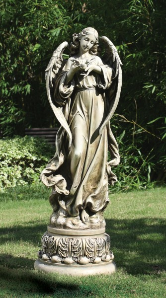 "Garden Angel with Dove Statue - 46.75""H - Stone"