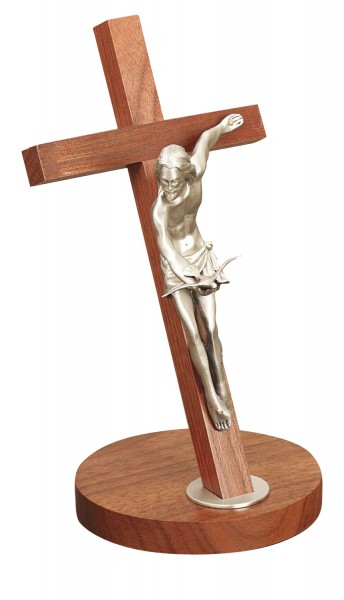 "Gift of The Spirit Standing Crucifix in Walnut with Pewter Corpus 11"" - Brown"