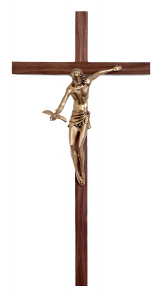 "Gift of The Spirit Wall Crucifix, 10.5 Resin Corpus, Antique Gold Finish 22"" - Brown"