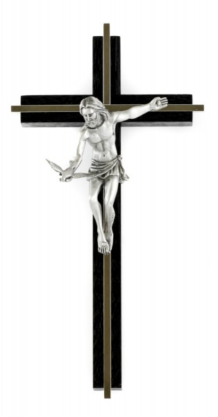 "Gift of The Spirit Wall Crucifix in Walnut with Antique Pewter Finish Corpus 10"" - Brown"