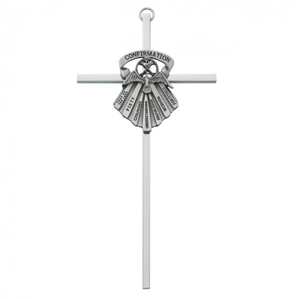Gifts of the Holy Spirit Confirmation Cross 6 inch - Silver
