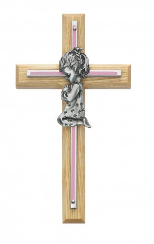 Girl Cross - Oak Wood with Brass and Pink Accent - Pink