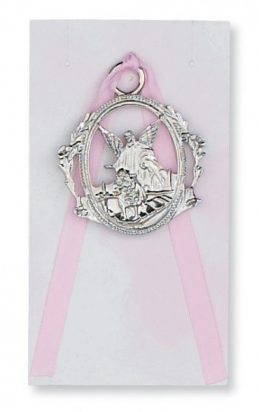 Girl Guardian Angel Crib Medal, Pewter - Silver