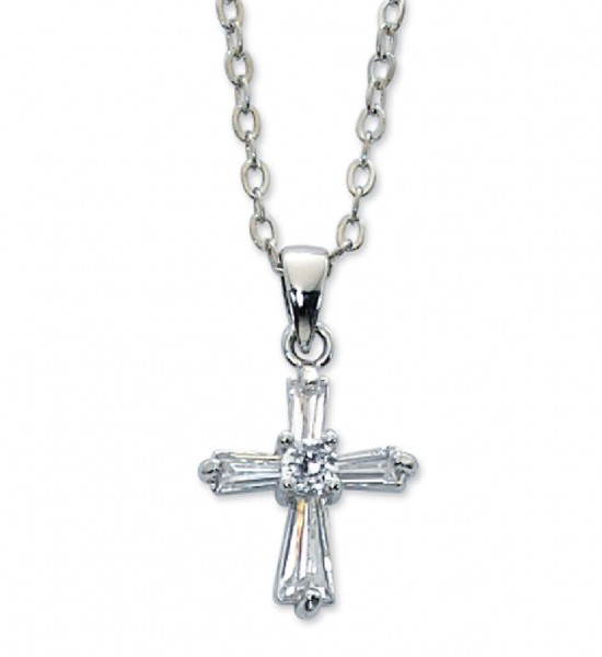Girls Crystal Clear Cross Necklace - Clear