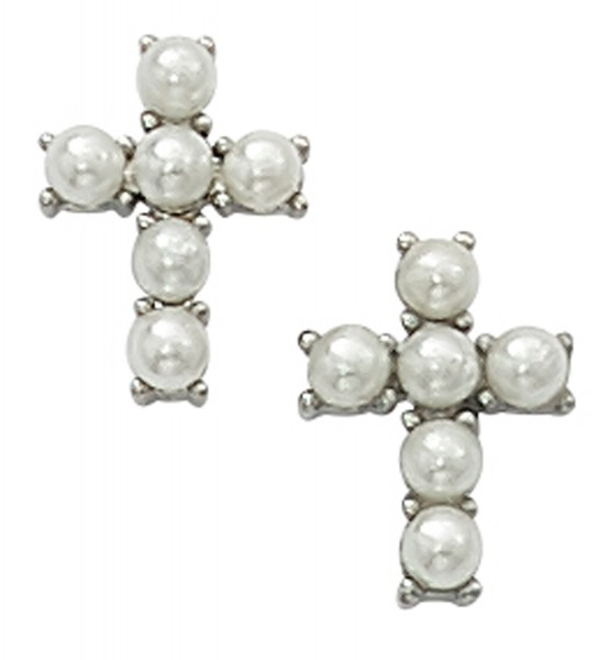 Girls Faux Pearl Cross Earrings - Pearl White