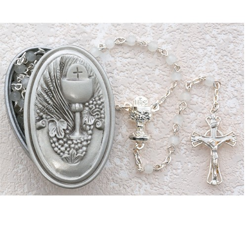 Girl's First Communion Rosary and Rosary Box - White | Silver