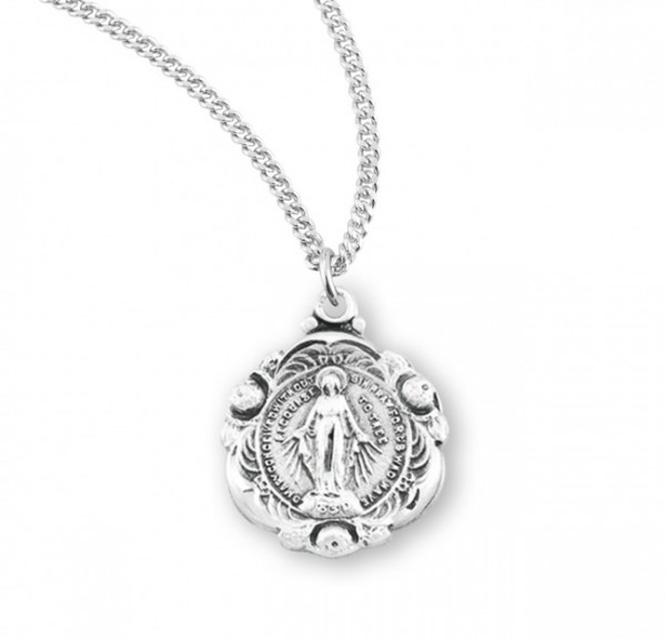Girl's Floret Miraculous Medal Necklace - Sterling Silver