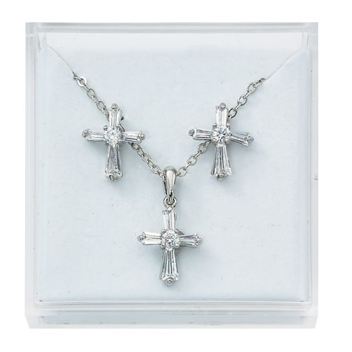 Girl's Glass Crystal Cross Earrings Necklace Set - Clear