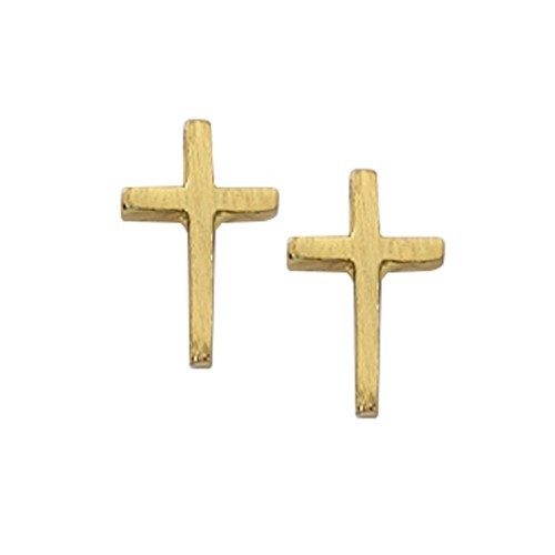 Girls Gold Plated Cross Earrings - Gold Filled