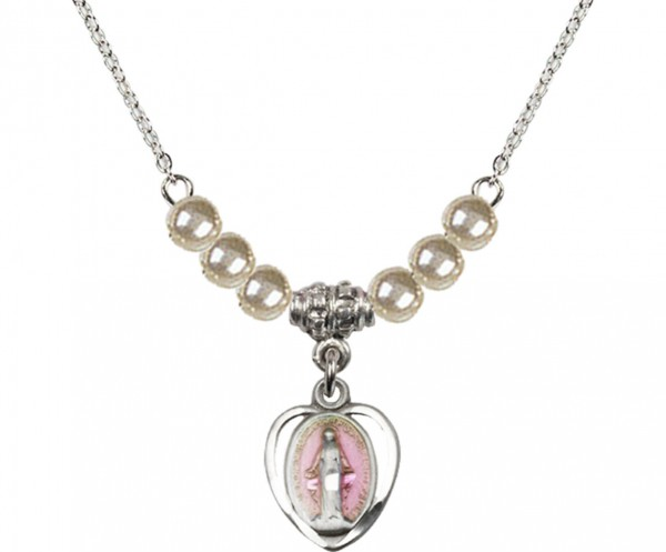 Girl's Miraculous Medal with Faux Pearl Necklace - Silver | Pink