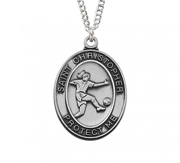 Girls Oval Soccer Necklace Sterling Silver or Pewter - Pewter