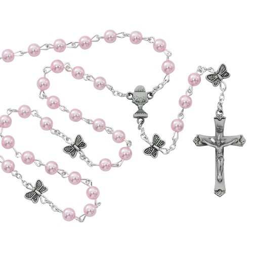 Girl's Pink Bead and Butterfly Our Father Bead Rosary - Pink