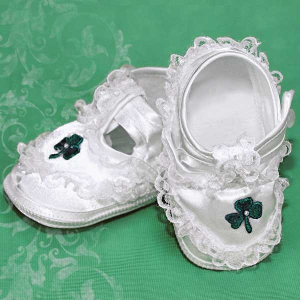 Girls Shamrock and Pearl Baptism Shoes - White