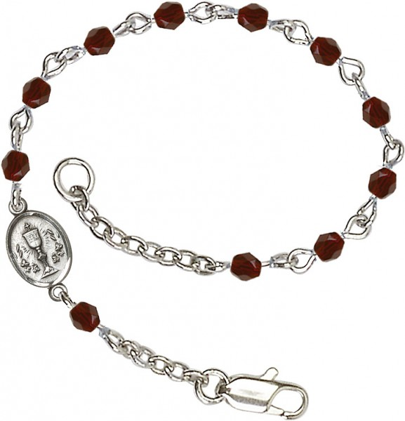 Girls Silver Chalice First Communion Bracelet 4mm Crystal Beads - Garnet